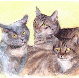 Commissioned cat group portrait painting in watercolor and pen
