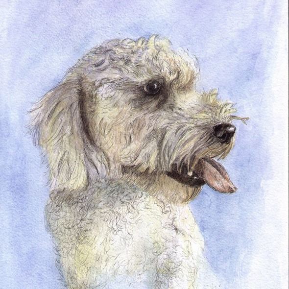 Commissioned dog portrait painting in watercolor