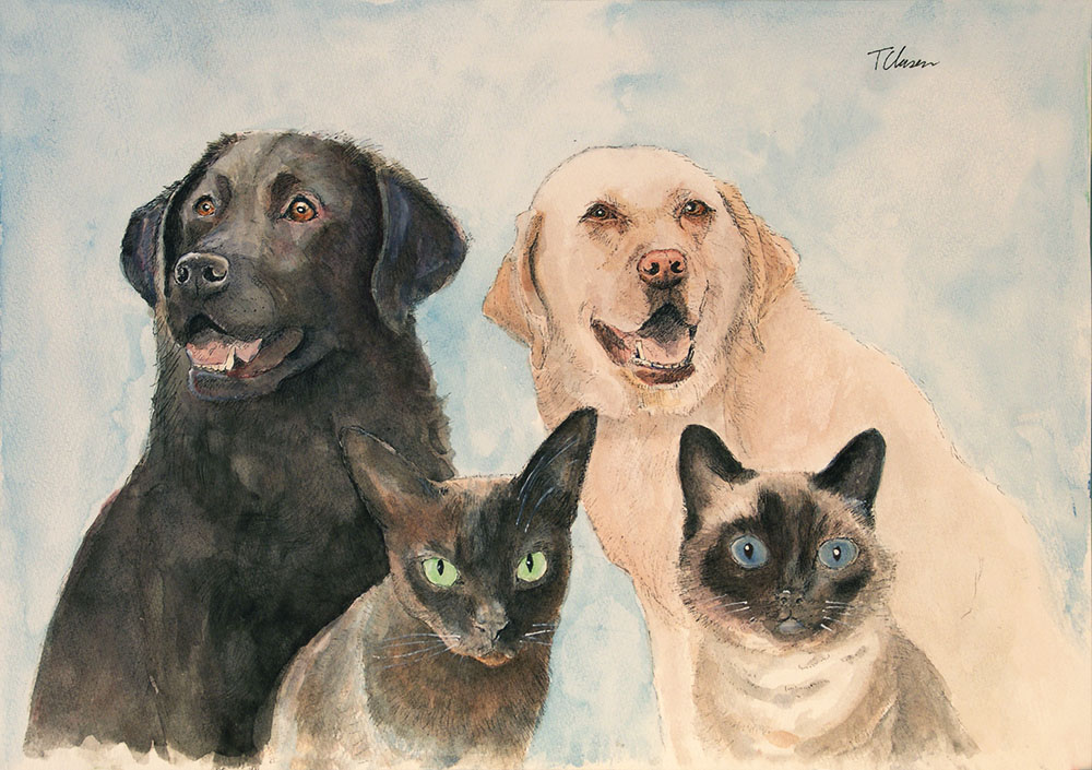 Group portrait of two dogs and two cats in pen and watercolor